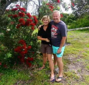 Rod and Dearne under the Puhutukawa Tree at Tathra