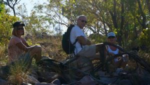 Jane, Steve and Dearne resting during our 8km walk around Edith Falls