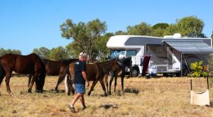 The Captain trying to keep the livestock away from the awning tie downs at Larrawa Station