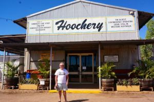 Rod in front of the Hoochery Distillery