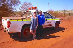 Dearne and Nicky at the road entrance to the West Angelos Mine, 70 south of Karijini National Park
