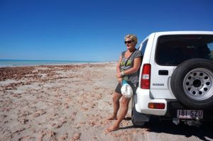 Dearne with the Jeep on one of our beach treks