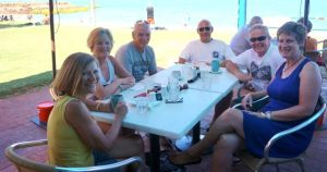 The nomads at lunch in Broome. From L to R: Jane, Dearne, Bruce, Steve, Rod and Lyn
