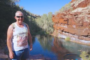 Rod at Forescue Falls in the Karijini National Park. Note his 'buzzcut' (permission was not obtained), singlet and denim shorts - all very Australia. Gaining residency should be no problem !!