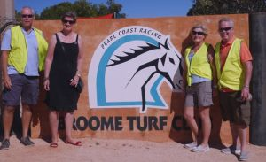 The team off to work at the Broome Turf Club on Ladies Day. L to R; Bruce, Lyn, Dearne, Rod