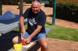 Rod preparing our crayfish lunch at Moora