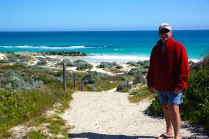 Rod enjoying Yanchep Beach in the cold
