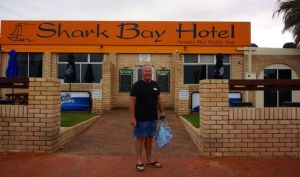 Rod at Denham visiting the most western pub in Australia