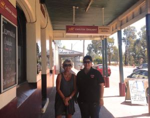 Dearne and Mereana outside the Federal Hotel in Collie
