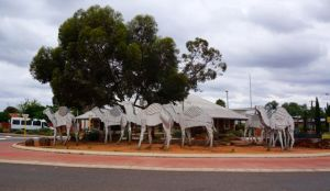 A Camel train sculpture in recognition of camels and their input into the growth of the Norseman Region in the 1800's