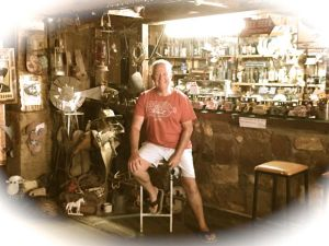 Rod relaxing at the bar in the Mannahil Hotel along the Barrier Highway