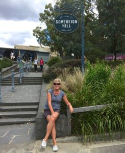 The navigator relaxing at the entrance to Sovereign Hill in Ballarat