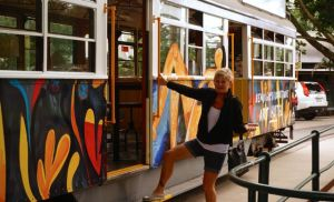 Dearne making a grand entrance onto a Bendigo tram - a great way to look around