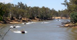 Passing traffic at our campsite at Murray Bend at Echuca
