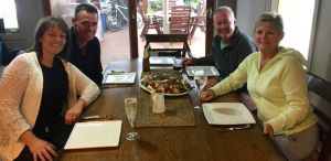 Roast lamb dinner at the Fife Farm, Warrnambool.  L to R: Jo, Brent, Rod, Dearne