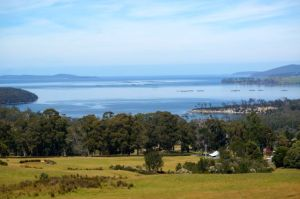 Eggs and Bacon Bay and over looking the  Huon River