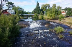 The Meander River beside our camp at Deloraine