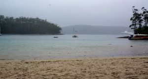 Port Arther in the pouring rain and a howling southerly. Note the cruise ship coming in in the background
