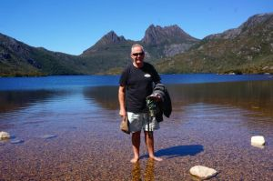 The Captain 'sort of getting wet' in Dove Lake at Cradle
