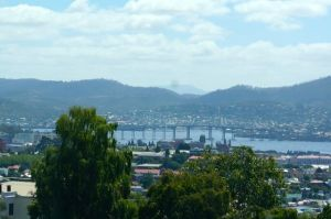 Hobart's Tasman Bridge in the city and in the pouring rain